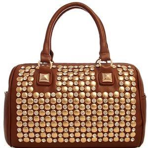 Large Cognac Studded Handbag